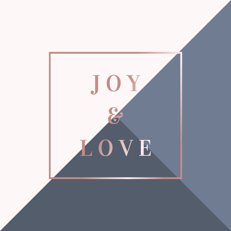 Christmas design with text Joy & Love in rose gold on geometric