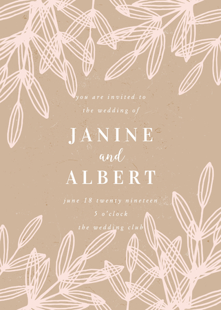 Wedding invitation template with hand drawn floral elements in pastel pink on craft paper background and sample text layout. Vector greeting card, bridal shower, brochure design, scalable to 5x7 inches.