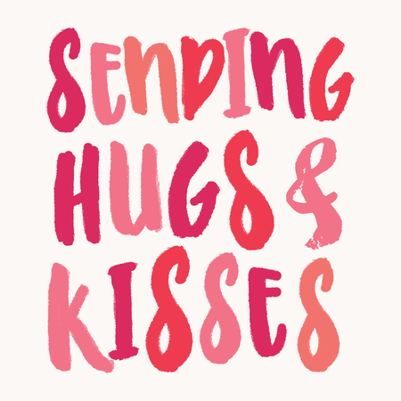 Sending Hugs and Kisses. Valentines Day greeting card template with colorful typographic design on white background. Cute and playful vector romantic card, wedding initation, wall art design.