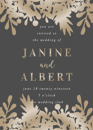Wedding invitation template with golden leaves on dark gray background and sample text layout. Vector greeting card, bridal shower, brochure design, scalable to 5x7 inches.
