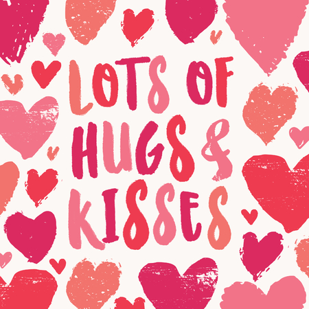 Lots of Hugs and Kisses. Valentines Day greeting card template with colorful typographic design and hearts on white background. Cute and playful vector romantic card, t-shirt, wall art design. 向量圖像