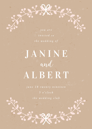 Wedding invitation template with hand drawn floral elements in pastel pink and white on craft paper background and sample text layout. Vector greeting card, bridal shower, brochure design, scalable to 5x7 inches.