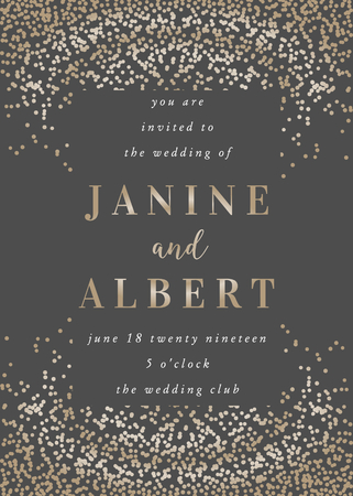 Wedding invitation template with golden confetti on dark gray background and sample text layout. Vector greeting card, bridal shower, brochure design, scalable to 5x7 inches. 向量圖像