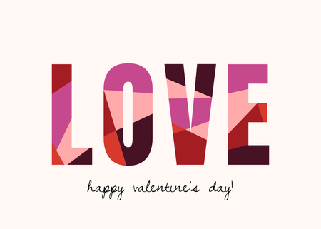 Valentines Day greeting card template with colorful typographic design on white background. Cute and playful vector romantic card, wedding initation, wall art design.