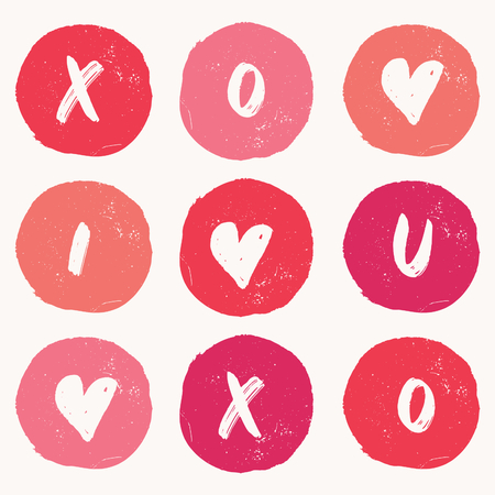 Valentines Day greeting card template with colorful hand drawn dot shapes and symbols ioslated on white background. Cute and playful vector romantic card, wedding initation, wall art design.