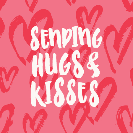 Sending Hugs and Kisses. Valentines Day greeting card template with typographic design and red hearts on pink background. Cute and playful vector romantic card, t-shirt, wall art design. 向量圖像