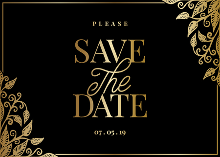 Save the Date template with hand drawn golden leaf shapes and sample text layout on black background. Elegant and creative vector wedding invitation, bridal shower, thank you card design.