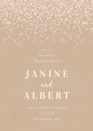 Wedding invitation template with confetti in pastel pink on craft paper background and sample text layout. Vector greeting card, bridal shower, brochure design, scalable to 5x7 inches.