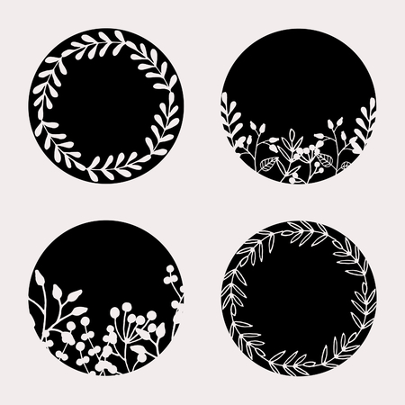A set of four round frames with floral elements in black and pastel pink isolated on light pink background. Elegant and stylish vector design elements, stamps, stickers, labels with space for text.