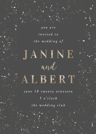 Wedding invitation template with golden speckles on dark gray background and sample text layout. Vector greeting card, bridal shower, brochure design, scalable to 5x7 inches.