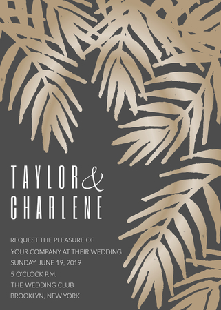 Wedding invitation template with golden tropical leaves on dark gray background and sample text layout. Vector greeting card, bridal shower, brochure design, scalable to 5x7 inches.