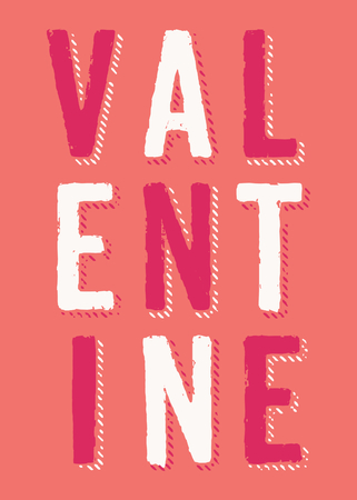 Valentines Day greeting card template with colorful typographic design on orange background. Cute and playful vector romantic card, wedding initation, wall art design.