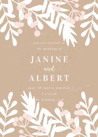 Wedding invitation template with hand drawn floral elements in white and pastel pink on craft paper background and sample text layout. Vector greeting card, bridal shower, brochure design, scalable to 5x7 inches.