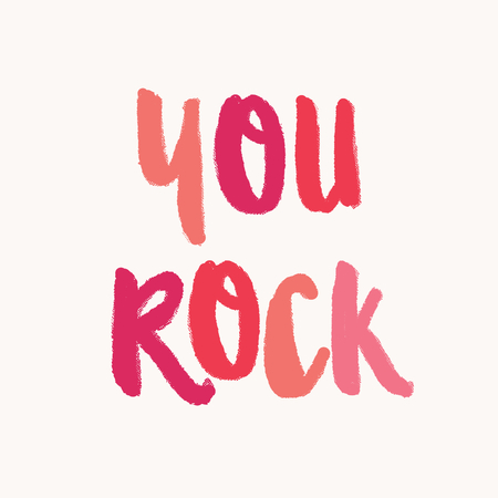 You Rock. Valentines Day greeting card template with colorful typographic design on white background. Cute and playful vector romantic card, t-shirt, wall art design. 向量圖像
