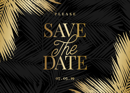 Save the Date template with golden palm leaf shapes and sample text layout on black background. Elegant and creative vector wedding invitation, bridal shower, thank you card design.