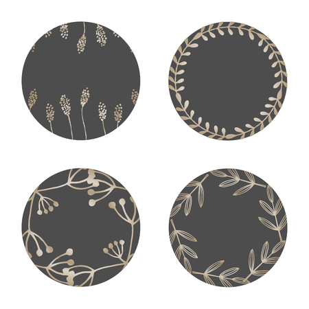 A set of four round frames with floral elements in gold and dark gray isolated on white background. Elegant and stylish vector design elements, stamps, stickers, labels with space for text.