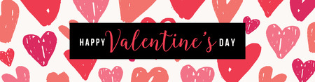 Valentines Day header design template with little pink and red hearts and colorful text on black background. 向量圖像