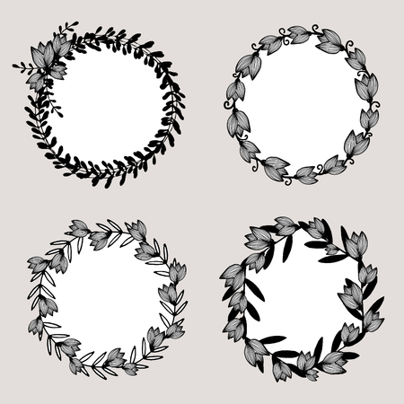 A set of four round frames with floral elements in black and white isolated on taupe background. Elegant and stylish vector design elements, stamps, stickers, labels with space for text. 向量圖像