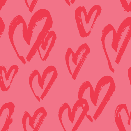 Hand drawn seamless repeating pattern with hearts in red on pink background. Cute and trendy romantic design poster, wrapping paper, Valentine card design. 向量圖像