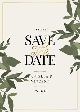 Guarde la plantilla de fecha con ramas de eucalipto verde y diseño de texto de muestra en crema