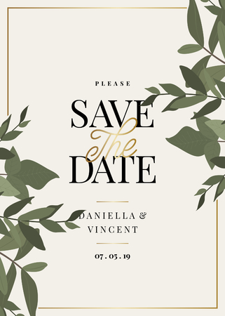 Save the Date template with green eucaliptus branches and sample text layout on cream