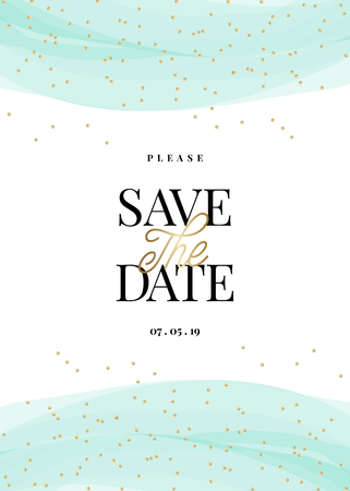 Save the Date template with golden confetti, light blue decoration and sample text layout on white background. Elegant and creative vector wedding invitation, bridal shower, thank you card design. Ilustração