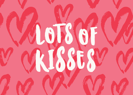 Lots of Kisses. Valentines Day greeting card template with typographic design and red hearts on pink background. Cute and playful vector romantic card, t-shirt, wall art design.