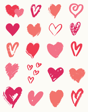 A set of 20 hand drawn heart shapes in pink, red and coral, perfect for creating patterns, greeting cards, invitations, posters, mugs, etc.