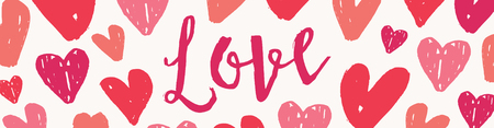 Valentines Day header design template with little pink and red hearts and colorful text on white background.