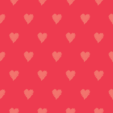 Hand drawn seamless repeating pattern with hearts in orange on red background. Cute and trendy romantic design poster, wrapping paper, Valentine card design.