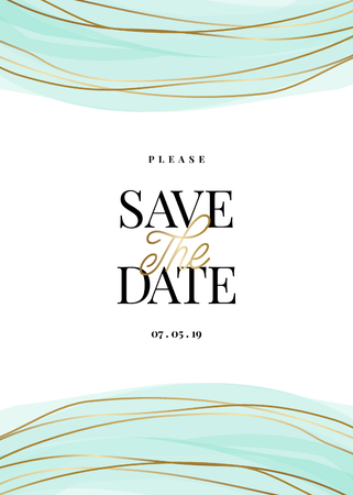 Save the Date template with golden and light turquoise decoration and sample text layout on white background. Elegant and creative vector wedding invitation, bridal shower, thank you card design. 向量圖像