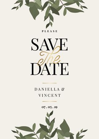 Enregistrez le modèle Date avec des branches d'eucaliptus verts et un exemple de mise en page de texte sur fond crème. Invitation de mariage vectoriel élégant et créatif, douche nuptiale, conception de carte de remerciement. Vecteurs