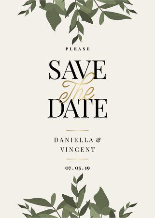 Save the Date template with green eucaliptus branches and sample text layout on cream background. Elegant and creative vector wedding invitation, bridal shower, thank you card design.