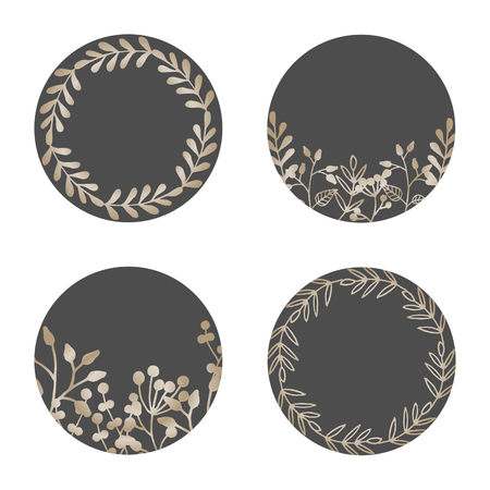 A set of four round frames with floral elements in gold and dark gray isolated on white background. Elegant and stylish vector design elements, stamps, stickers, labels with space for text. 向量圖像