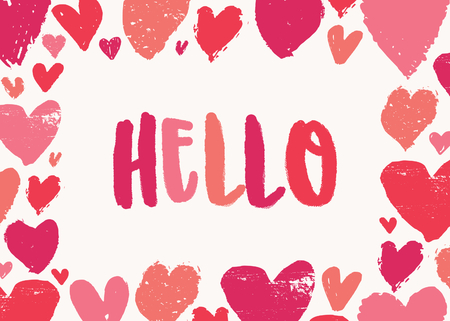 Valentines Day greeting card template with colorful typographic design Hello and hand drawn hearts on white background. Cute and playful vector romantic card, t-shirt, wall art design.