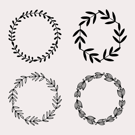 A set of four round frames with floral elements in black isolated on pastel pink background. Elegant and stylish vector design elements, stamps, stickers, labels with space for text.