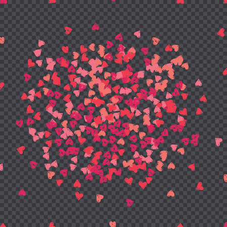 Little pink and red hearts isolated on dark transparency grid background. Valentines Day vector overlay, decorative element, greeting card design. 向量圖像