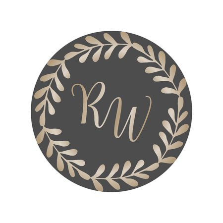 Modern and elegant monogram wreath logo design for florists, cosmetics, weddings and home decor.