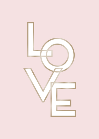 Stylish and modern typographic design St. Valentines Day greeting card template. Text Love in white and gold on pastel pink background. Romantic wall art, t-shirt, brochure design. 向量圖像