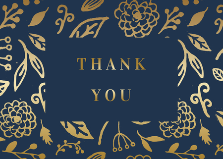 Thank you card template with golden florals on dark blue background and sample text layout. Vector greeting card, wedding invitation, brochure design, scalable to 5x7 inches.