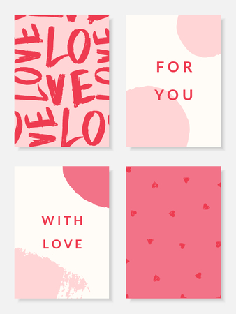 A set of four cute and modern romantic card designs in pastel pink, red and white. Valentine's Day Greeting card vector illustration. Perfect for packaging, wall art, weddings and stationery.  イラスト・ベクター素材