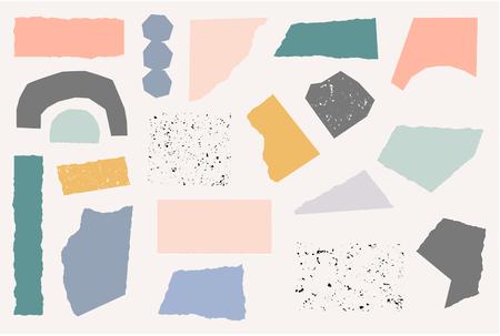 Eine Reihe von Papierschnittformen in Pastellfarben und Vintage-Texturen auf cremefarbenem Hintergrund. Verspieltes und modernes Poster im Collage-Stil, Geschenkverpackung, Stoffdesign. Vektorgrafik