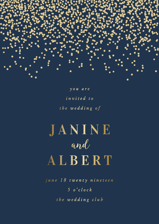 Wedding invitation design template with golden confetti on dark blue  and sample text layout.