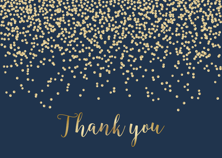 Thank you card template with golden confetti on dark blue background and sample text layout. Vector greeting card, wedding invitation, brochure design, scalable to 5x7 inches.