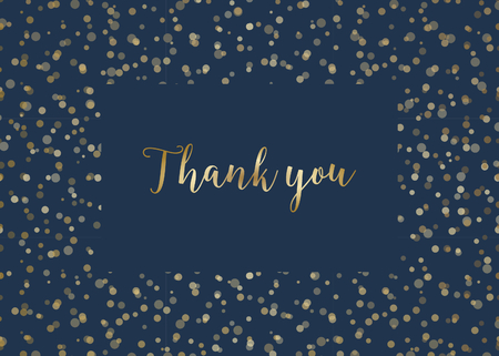 Thank you card template with golden lights on dark blue  and sample text layout.