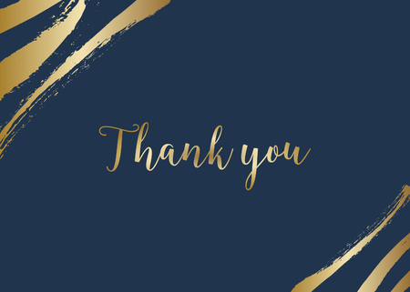 Thank you card template with golden brush strokes on dark blue background and sample text layout. Vector greeting card, wedding invitation, brochure design, scalable to 5x7 inches.