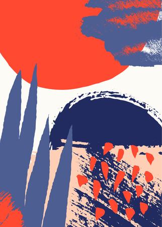 Handgemaltes abstraktes Design mit Pinselstrichen, Texturen und Formen in leuchtenden Farben. Kreative und moderne Illustration, Wandkunst, Grußkarte, Verpackungsdesign.