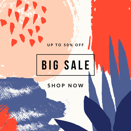 Hand painted abstract design with brush strokes, textures and shapes in bright colors. Creative and modern promotional banner, sale brochure, newsletter template, social media post.