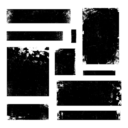 A set of distressed vector design elements in black isolated on white. Textured vintage frames, banners, backgrounds with copy space. Vector Illustration