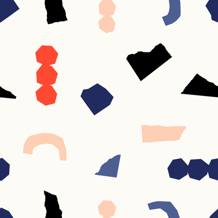 Seamless repeating pattern with paper shapes in red, blue, black and blush pink on cream background. Playful and modern contemporary collage style poster, gift wrap, fabric, packaging and branding design.